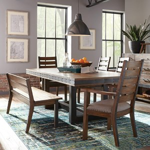 Industrial Dining Set with Ladderback Chairs and a Bench