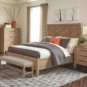 California King Bed with Chevron Inlay Design