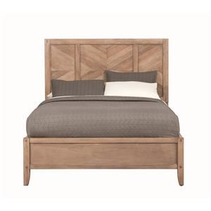 Queen Panel Bed with Chevron Inlay Design