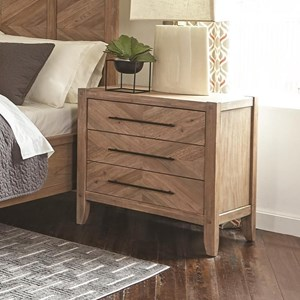 Nightstand with Chevron Inlay Design and USB Ports