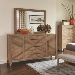 Dresser and Mirror Set with Chevron Inlay Design