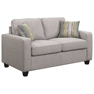 Transitional Loveseat with Track Arms