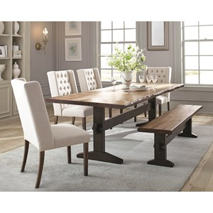 Rustic Live Edge Dining Table Set with Bench