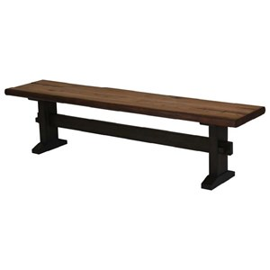 Two-Tone Live Edge Dining Bench with Trestle Base