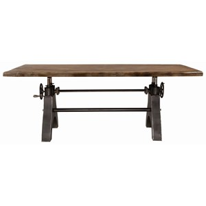 Industrial Adjustable Dining Table with Iron Metal Base