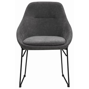 Contemporary Upholstered Side Chair with Metal Base
