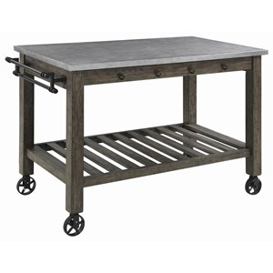 Rustic Kitchen Island with Metal Casters