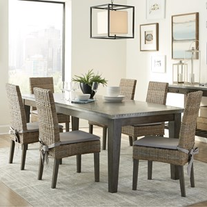 Rustic Table and Rattan Chair Set