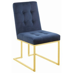 Metal Side Chair with Tufted Upholstery