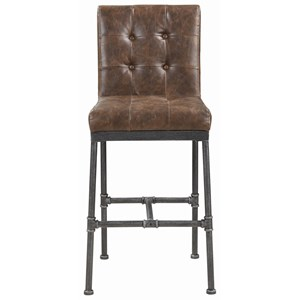 Industrial Bar Stool with Tufted Back