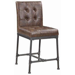 Industrial Counter Height Chair with Tufted Back