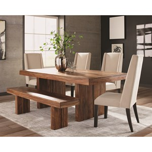 Rustic Table and Chair Set with Bench