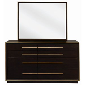 Contemporary Dresser and Mirror Set with Metal Trim