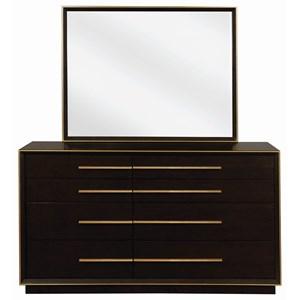 Contemporary Dresser and Mirror Set with Metal Trim