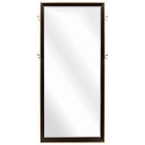 Contemporary Floor Mirror with Metal Trim