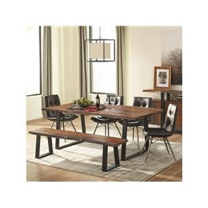 Rustic Dining Room Group with Charcoal Chairs