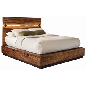 Queen Platform Bed with Live Edge Look and Storage Drawers in Siderail