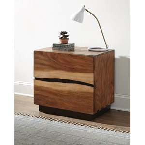 Rustic Nightstand with Live Edge Look and USB Charging Ports