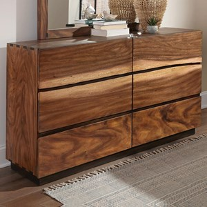 Rustic 6 Drawer Dresser with Live Edge Look and Removable Jewelry Tray