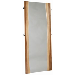 Rustic Full Length Standing Mirror with Coat Hooks