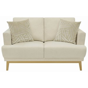 Transitional Loveseat with Wood Base