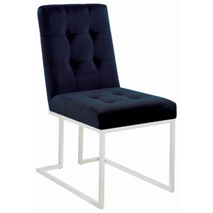 Metal Side Chair with Tufted Back