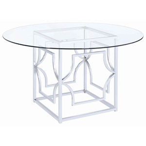 Modern Dining Table with Tempered Glass Top