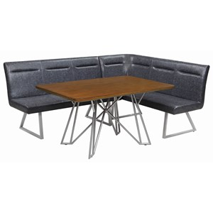 2 Piece Mid Century Modern Modular Faux Leather Dining Banquette