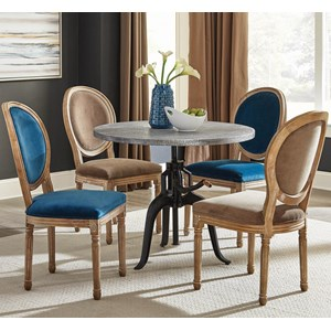 5 Piece Dining Set with Industrial Crank Table and Multicolor Chairs