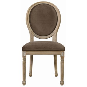 Oval Back Dining Chair Upholstered in Nutella Fabric