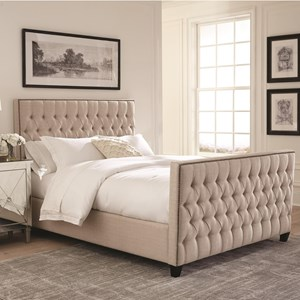 Upholstered California King Bed with Button Tufting