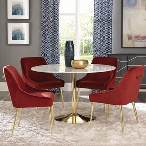 5 Piece Glam Dining Set with Marble Table and Spicy Henna Chairs