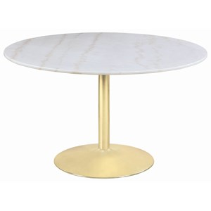Glam Marble Round Table with Metal Base