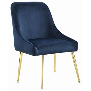 Glam Italian Style Dining Side Chair in Dark Ink Blue