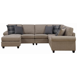 Chaise Sectional with Rolled Armrests