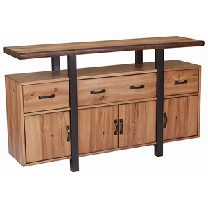 Rustic 4 Door Dining Server with Live Edge Top