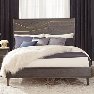 Contemporary King Platform Bed with Geometric Gold Inlay
