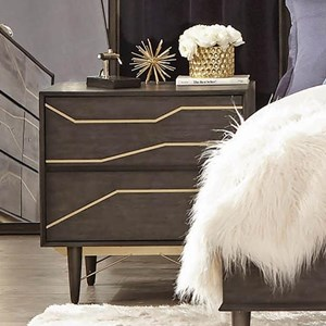Contemporary Nightstand with Gold Colored Inlay and USB Charging Ports