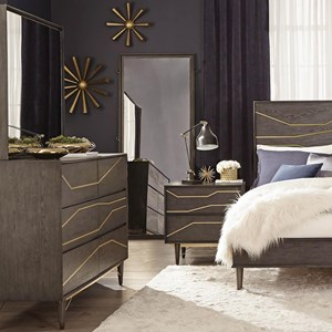 Contemporary 6 Drawer Dresser Mirror Set