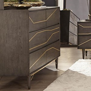 Contemporary 6 Drawer Dresser with Gold Colored Inlay