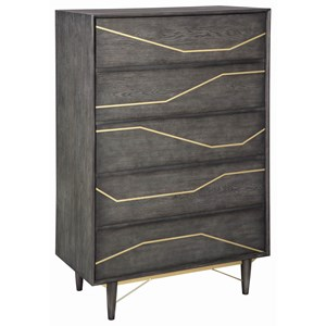 Contemporary 5 Drawer Chest with Drawer Divider