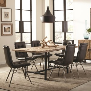 Rustic Table Set with Six Retro Chairs