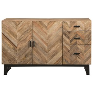 Rustic Server with Chevron Inlay Pattern