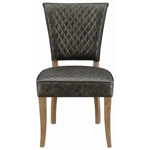Rustic Side Chair with Wicker Back and Upholstered Seat