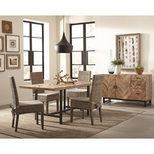 Rustic Dining Room Group with Rattan Chairs