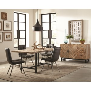 Rustic Dining Room Group with Four Retro Chairs