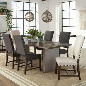 Industrial 7 Piece Dining Set with Concrete Composite Table and Fabric Chairs