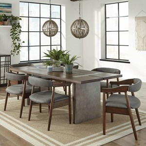 Industrial 7 Piece Dining Set with Concrete Composite Table and Faux Leather Chairs