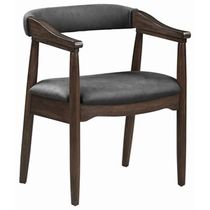 Mid Century Modern Dining Arm Chair in Gray Leatherette