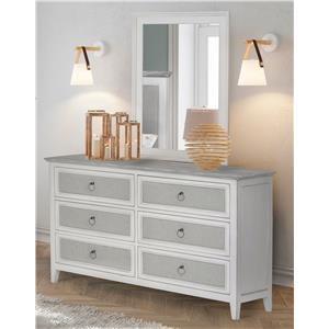 Six drawer dresser and mirror